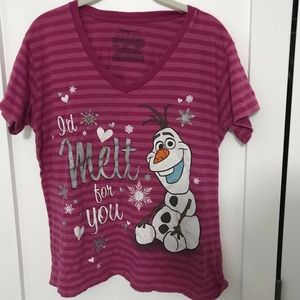 Pink Stripped 'I'd Melt For You' Olaf T-Shirt